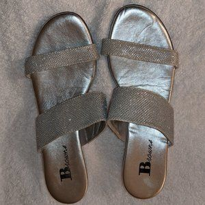 Browns Shoes - Silver Slide On Wedges